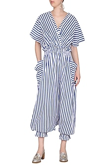 Blue & White Striped Jumpsuit by Ritesh Kumar