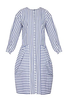 Blue & White Striped Shirt Dress by Ritesh Kumar