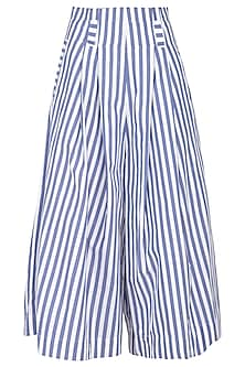 White & Blue Striped Wide Leg Pants by Ritesh Kumar
