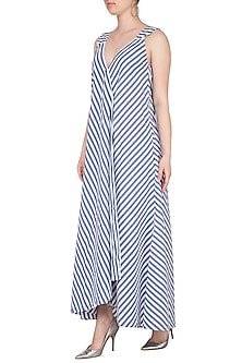 Blue & White Striped Wrap Maxi Dress by Ritesh Kumar