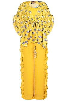 Tuscan Yellow Embroidered Printed Kimono With Bustier & Palazzo Pants by Riraan By Rikita & Ratna