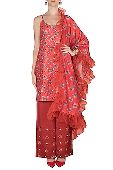 Charlotte Red Embroidered Printed Tunic Set by Riraan By Rikita & Ratna