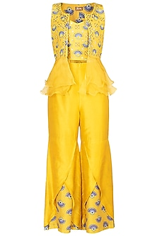Tuscan Yellow Embroidered Printed Bustier With Sharara Pants & Jacket by Riraan By Rikita & Ratna