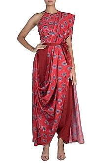 Charlotte Red Embroidered Printed Pant Saree Set by Riraan By Rikita & Ratna