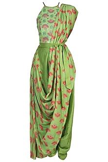 Matcha Green Embroidered Printed Pant Saree Set by Riraan By Rikita & Ratna