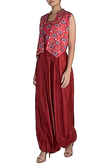 Charlotte Red Embroidered Printed Jumpsuit With Jacket by Riraan By Rikita & Ratna