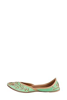 Turquoise Floral Embellished Juttis by RISA