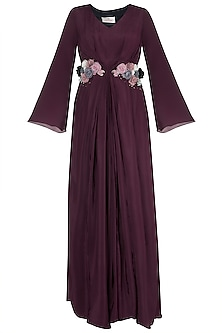 Wine Sangria Embroidered Pleated Maxi Dress by Rishi & Vibhuti