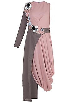 Blush Pink Tunic With Embroidered Half Jacket by Rishi & Vibhuti