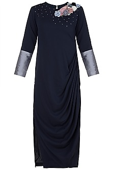 Midnight Blue Embroidered Drape Dress by Rishi & Vibhuti