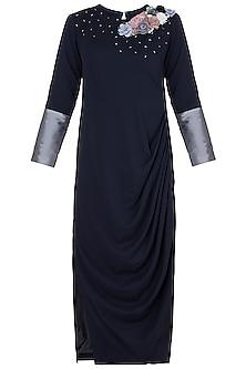 Midnight Blue Embroidered Drape Dress by Rishi & Vibhuti