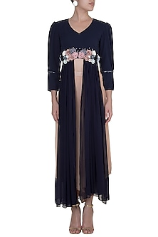 Midnight Blue Embroidered Paneled Top With Golden Palazzo Pants by Rishi & Vibhuti