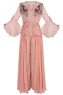 Peach Embroidered Sheer Jacket With Crop Top & Palazzo Pants by Rishi & Vibhuti