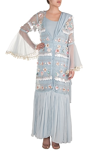 Baby Blue Draped Bodysuit With Embroidered Sheer Kimono Jacket by Rishi & Vibhuti