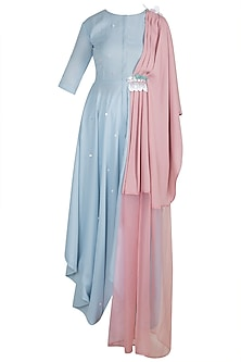 Baby Blue Embroidered Draped Shirt Dress by Rishi & Vibhuti