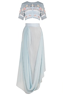 Baby Blue Embroidered Sheer Crop Top With Tube Top & Draped Skirt by Rishi & Vibhuti