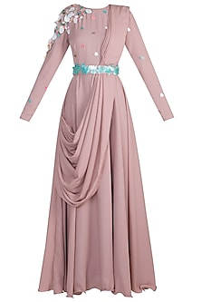 Blush Pink Embroidered Maxi Dress With Attached Palla by Rishi & Vibhuti