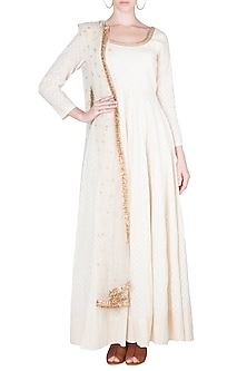 Ivory Cotton Anarkali Set by A-Sha By Rishi & Vibhuti
