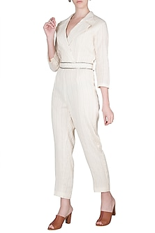 Ivory Jumpsuit With Belt by A-Sha By Rishi & Vibhuti