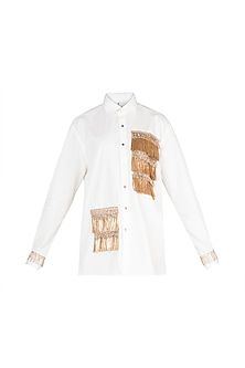 Ivory Tassel Embellished Shirt by A-Sha By Rishi & Vibhuti