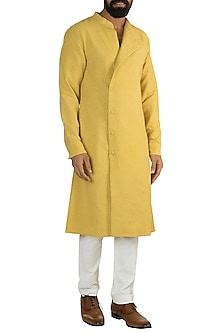 Yellow Organic Cotton Kurta by Rishi & Vibhuti Men
