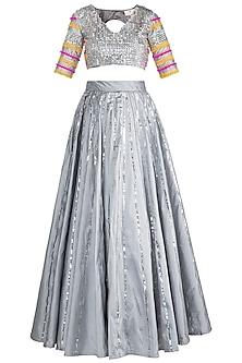 Grey & Silver Embroidered Lehenga Set by Rishi & Vibhuti