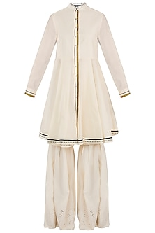 Cream Handloom Sharara Set