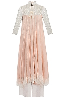 Peach Lace Kurta With Pants