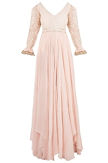 Dusty Pink Anarkali Gown With Dupatta