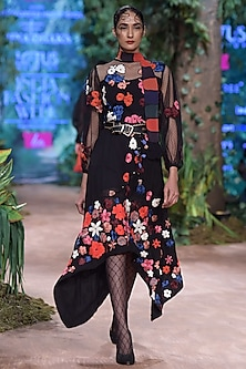 Black Floral Embroidered Midi Dress by RINA DHAKA