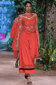 Red Embroidered Sheer Top by RINA DHAKA