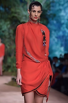 Red Wrap Skirt by RINA DHAKA