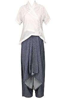 White Kimono Jacket and Grey Drape Pants Set