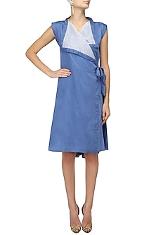 Blue Knotted Tie Up Dress by Ritesh Kumar