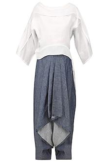 Ivory Kimono Top and Drape Pants Set