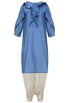 Blue Ruffled Tunic and Harem Pants Set