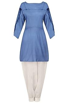 Blue Overlap Panel Tunic and Harem Pants Set by Ritesh Kumar