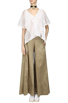 Ivory Layered Top and Gold Wide Pants Set by Ritesh Kumar