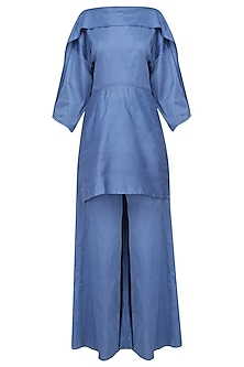 Blue Overlapping Tunic and Wide Legged Pants Set