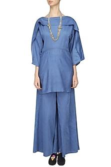 Blue Overlapping Tunic and Wide Legged Pants Set by Ritesh Kumar