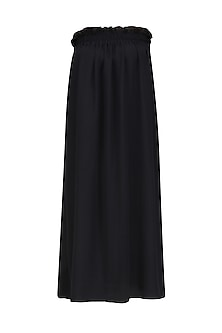 Black Pinafore Ruffled Long Dress by Ritesh Kumar