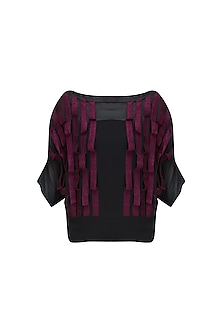 Black Batwing Sleeves Flow Textured Crop Top by Ritesh Kumar