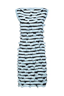 Black and Ice Blue Flow Textured Dress by Ritesh Kumar