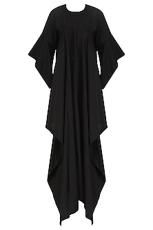 Black Cascade Kaftan with White Palazzo Pants Set