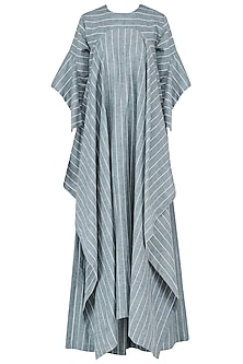 Blue Striped Cascade Kaftan with Palazzo Pants Set