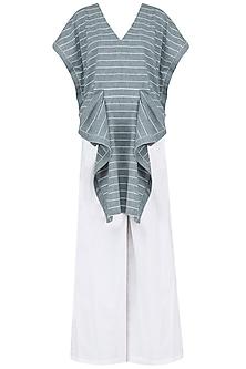 Blue and White Striped Drape Tunic with Palazzo Pants Set by Ritesh Kumar