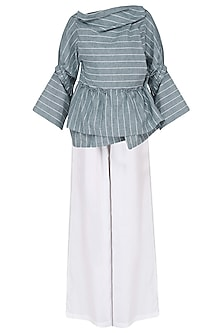 Blue and White Striped Wrape Top with Palazzo Pants Set