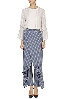 White Pin Tucked Tunic with Striped Wrap Pants by Ritesh Kumar