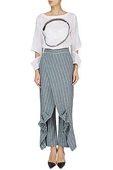 White Enso Print Top with Striped Wrap Pants by Ritesh Kumar