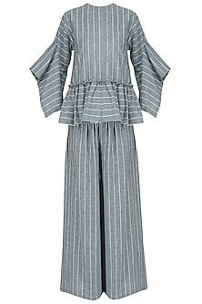 Blue and White Striped Peplum Top with Palazzo Pants Set